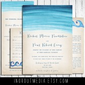 Rustic Beach Wedding invitations - Watercolor Waves