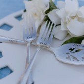 Vintage Silverware Hand Stamped Personalized Cake Server and Dessert Fork Set