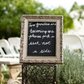 """Two families are becoming one"" Wedding Ceremony Seating Sign"