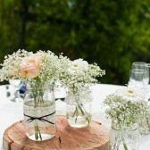 Lace and Pearl Mason Jars - Full Centerpiece Set