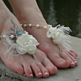 wedding-barefoot-sandals-feathers, roses, ivory, hemp, bridesmaids, brides, beach-wedding