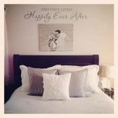 above the bed photo and word art