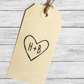 Custom rustic heart with initials stamp