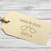 Custom wedding favor stamp with lovebirds
