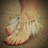 feather-fringe-wedding-barefoot-sandals, bohemian, beach, barefoot-jewelry, white, pearls
