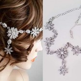 Rhinestone Headband Wedding, Bridal Head Chain, Bridal Head band Gatsby Floral Crystal Hair Jewelry Accessories