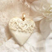 Ivory and Gold Heart Pendant, Heart Necklace, Bouquet Charm, Bride Gift, Bridesmaid Gift