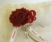 ruby red ring pillow, apple burlap
