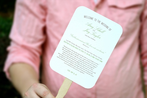 wedding program fan will keep guests cool | via http://emmalinebride.com/marketplace/wedding-program-fan/