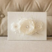 Wedding Vow Book Keepsake - Triple Flower Bloom - Bridal Silk Vow Folio - Wedding Vow Holder
