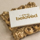 Wedding Vow Book - Pocket-sized My Beloved Silk Folio Vow Keepsake - Gold Foil Wedding Vow Holder