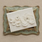 Wedding Vow Keepsake - Silk Vow Folio Orchid and Blossoms - Wedding Vow Book