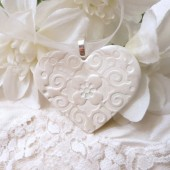 Wedding Bouquet Charm, Handmade White Heart, Keepsake Ornament, Bride Gift, Bridal Party, Wedding Decoration