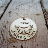 Personalized Wedding Date Necklace with Bride and Groom Names