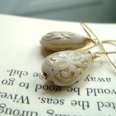 Cream and Gold Baroque Earrings