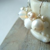 White Cluster Bridal Earrings