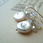 White Coin Pearl and Crystal Earrings