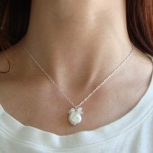 White Coin Pearl and Crystal Necklace