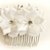 White Floral Wedding Hair Comb,