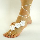 white-lace-up-barefoot-sandals, beach-bride-shoes, beach-wedding-sandals, barefoot-jewelry, white-roses