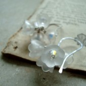 White Lucite Flower Cluster Earrings