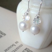 Pearl and Vintage Crystal Bridal Earrings
