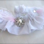 Feather Garter Set, Pearl Rhinestone Bridal Garter Keepsake and Toss garters, pink, white, ivory, blue feathers garter