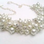 White Pearl and Rhinestone Beaded Necklace, Bridal Jewelry, Cluster Necklace, Chunky Necklace, Bridesmaid Gift, Pearl Crystals