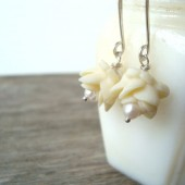 Cream Rose and White Pearl Earrings