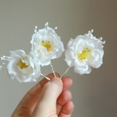 White Wild Rose Bobby Pin Trio