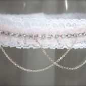 Pink Garter Lace, Rhinestones and Chain, Pleated pink or white/ ivory organza ribbon
