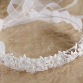 Fairy Wedding Crown, White Bridal Halo, Flower Crown, Flower Girl Circlet