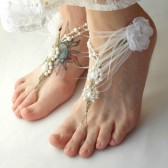 white-wedding-barefoot-sandals, ostrich-feathers, beach-wedding-shoes, hemp, pearls, brides-sandals, foot-jewelry