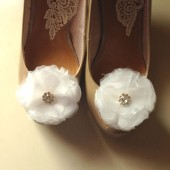 White Organza Flower Shoe clips with rhinestone center Handmade Wedding Bridal shoe clips OR Hair clips