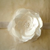 SALE Flower Girl Headband white Satin Flower Handmade