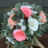 white,pink,peach bouquet with gray foliage
