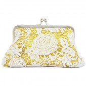 White rose lace in gold gleaming sequins clutch