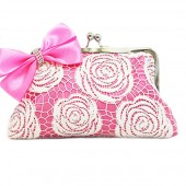 White rose lace in sweet pink clutch