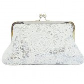 White rose lace in silver gleaming sequins clutch