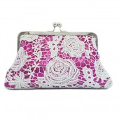 White rose lace in fuschia pink gleaming sequins clutch
