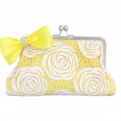 White rose lace in lemon yellow clutch