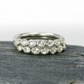 White Topaz Wedding Band, Seven Stone Bezel Ring