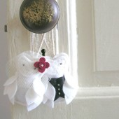 White Owl Bride and Groom Felt Ornaments Decor