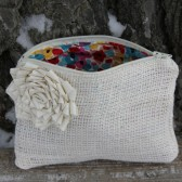 Ivory Burlap Wedding Clutch