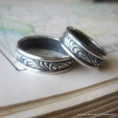 Swirl Matching Wedding Set in Sterling Silver