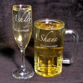 Wedding Party Gifts, Beer Mug, Champagne Flute, Personalzied