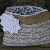 Winter White Burlap and Lace Clutch