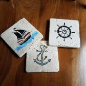Hand Painted Nautical Coaster Wedding Favors