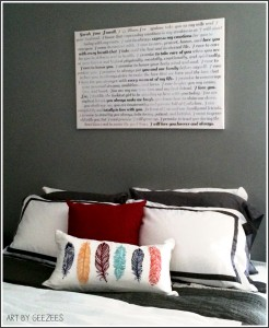 Bedroom Canvas Art Lyrics Over The Bed