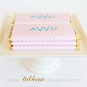 Personalized Diagonal Stripes Chocolate Bar Wrappers and Gold or Silver Foils